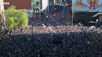 Manchester City celebrate treble triumph