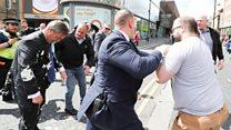 The moment Farage hit by milkshake