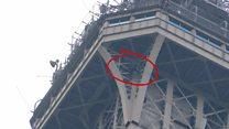 Мужчина залез на Эйфелеву башню. Его уговорили слезть только через шесть часов