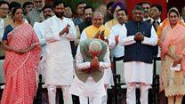Thousands watch Modi swearing in