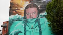 Giant Greta Thunberg mural painted on building wall
