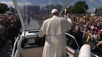 Pope Francis greets crowds in Romania