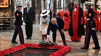 Trumps lay wreath in Westminster Abbey