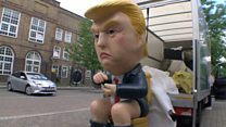 The ''Trump Dumper'' protesting against the US President