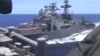 US Navy video shows brush with Russian warship