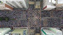 香港で数十万人がデモ行進 「容疑者引き渡し」に反対