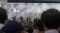 Tear gas used in Hong Kong protests