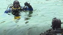 The divers cleaning up the seabed