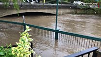 Flooding in Wales: Roads overwhelmed after heavy rain