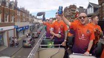 Open-top bus tour for Sunday league team