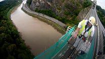 Engineers scale suspension bridge heights