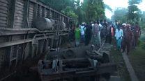 Train plunges off bridge in Bangladesh