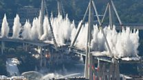Genoa's giant bridge towers demolished