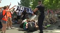 French police pepper spray climate protesters