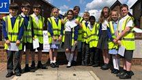 The schoolchildren confronting speeding motorists