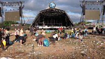 Glastonbury clear up in full swing