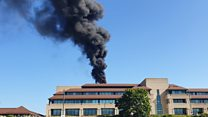 Office block fire causes congestion 'near to M1'
