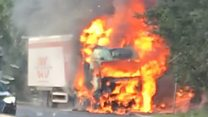 Sleeping lorry driver escapes fire in his cab