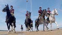 Beach run for Household Cavalry 'sea horses'