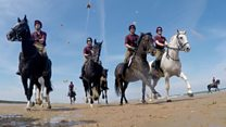 Beach 'summer camp' for Household Cavalry horses