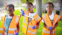 Triplet litter-pickers 'save the planet'