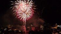 Drone captures city celebration fireworks
