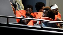 Rescued migrants brought to Malta