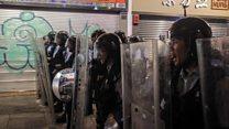 Hong Kong police and protesters clash