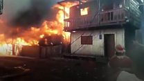Huge fire sets Peru neighbourhood ablaze