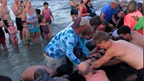 Beachgoers come together to help stranded whales