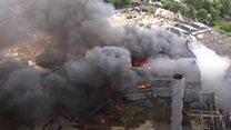 Drone footage of Birmingham factory fire