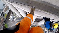 Fixing a clock 140ft above the ground