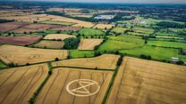 Giant crop circle ploughed in field