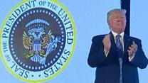 Откуда взялся двуглавый орел на президентской печати на выступлении Дональда Трампа?