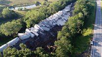 Train derailment sends 70 cars off track