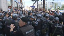 Как прошла акция протеста у мэрии против недопуска кандидатов в Мосгордуму
