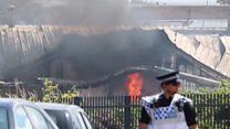 Industrial estate blaze smoke seen for miles