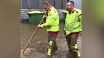 Heavy rain floods Congleton village shop