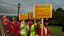 Harland and Wolff workers in bi-lingual protest