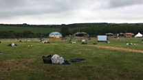 Dumped festival tents recycled into bags