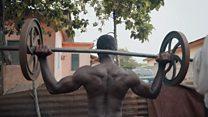 Bodybuilding in a backyard