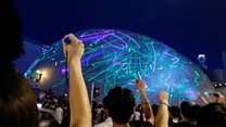 Laser protest lights up Hong Kong Space Museum
