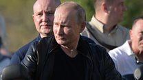 Leather-clad Putin at bikers' festival in Crimea