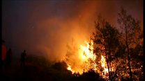Fires rage through Greek island forests