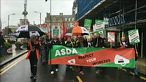 Asda staff stage protest over new contract