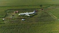 Видео с места посадки самолета А321 на кукурузное поле в Подмосковье