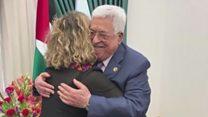 لقاء محمود عباس مع حفيدة رابين
