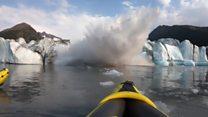 'We survived!' Collapsing glacier soaks kayakers