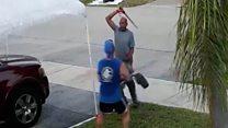 Man swings sword over throwaway cart