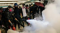 Fire extinguishers and soap at Hong Kong protest